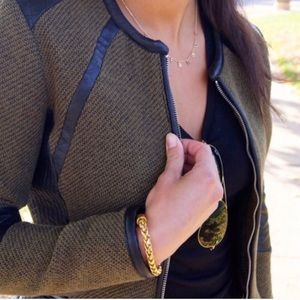 H&M Green Blazer With Faux Leather Detail